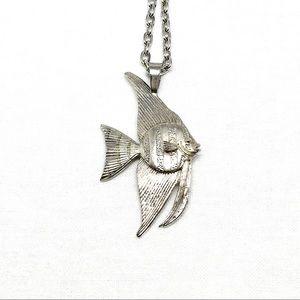 Vintage Kabana Silver Angelfish Necklace for sale